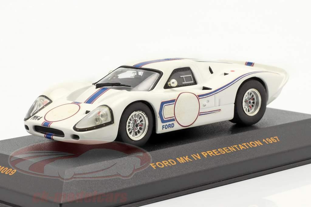 Ford MK IV Presentation ano 1967 Branco / azul 1:43 Ixo