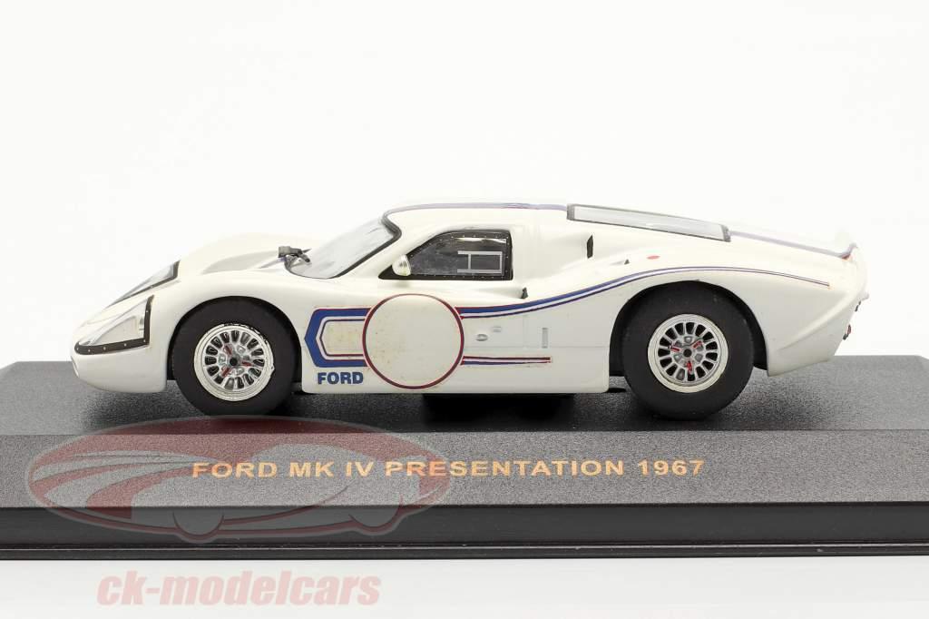 Ford MK IV Presentation år 1967 hvid / blå 1:43 Ixo
