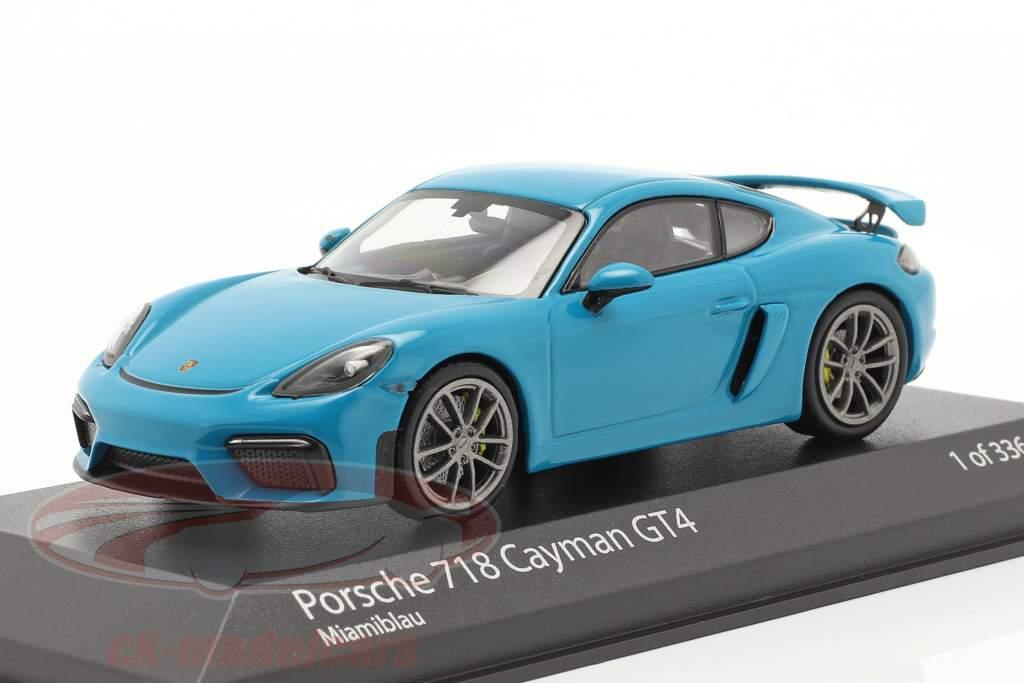 Porsche 718 (982) Cayman GT4 Byggeår 2020 miami blå 1:43 Minichamps