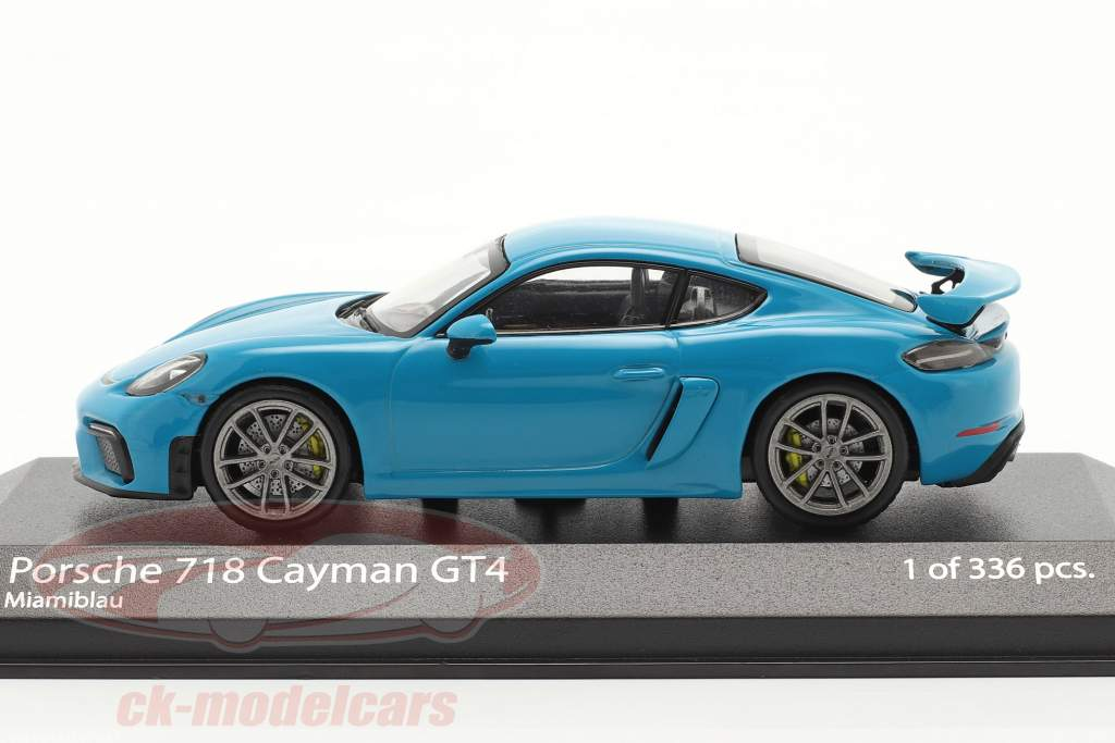 Porsche 718 (982) Cayman GT4 Año de construcción 2020 miami azul 1:43 Minichamps