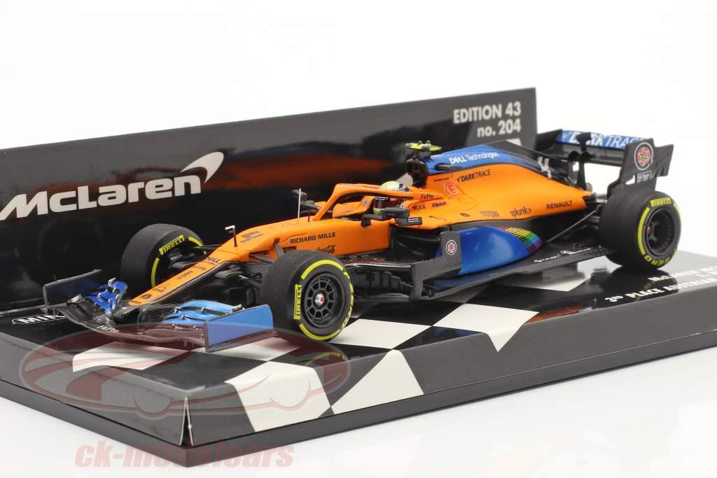 L. Norris McLaren MCL35 #4 Tercero austriaco GP fórmula 1 2020 1:43 Minichamps