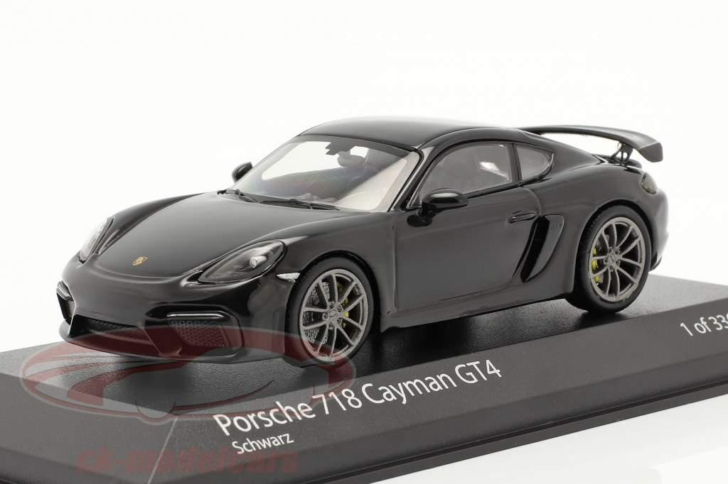 Porsche 718 (982) Cayman GT4 Bouwjaar 2020 zwart 1:43 Minichamps