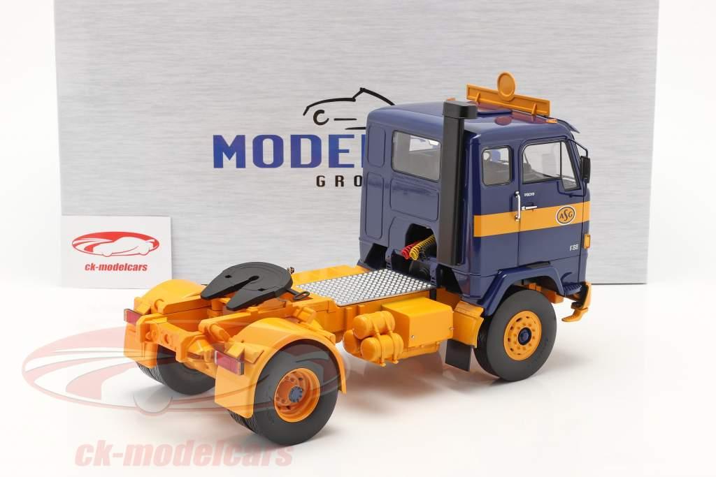 Volvo F88 Lastbil ASG Transport 1971 blå / gul 1:18 Model Car Group