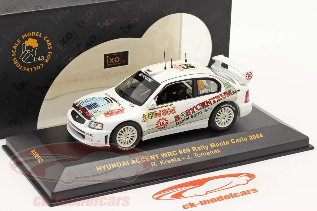 Hyundai Accent WRC #69 corrida Monte Carlo 2004 Kresta, Tomanek 1:43 Ixo
