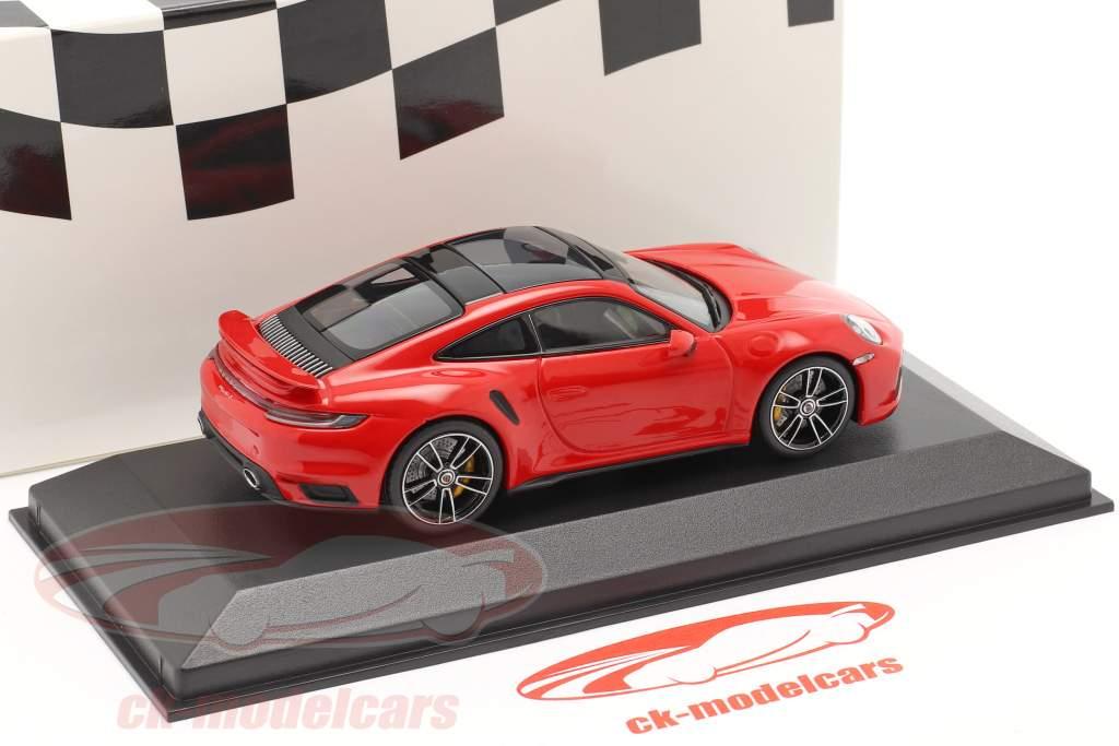 Porsche 911 (992) Turbo S 2020 vagter rød / sølv fælge 1:43 Minichamps