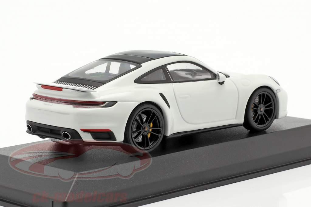 Porsche 911 (992) Turbo S 2020 Branco / Preto aros 1:43 Minichamps