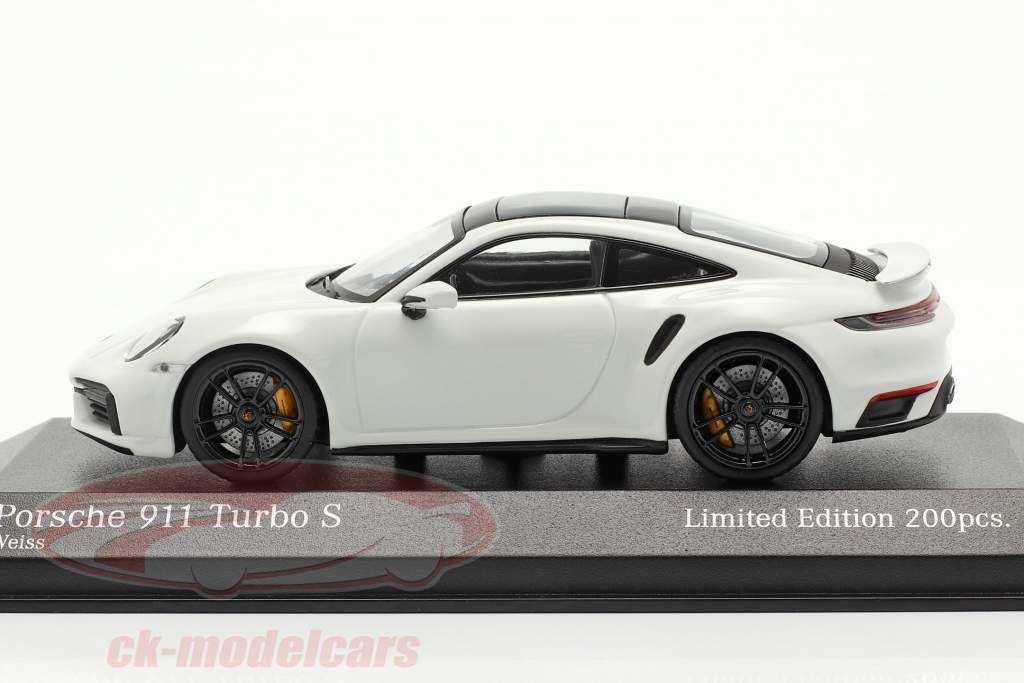Porsche 911 (992) Turbo S 2020 hvid / sort fælge 1:43 Minichamps