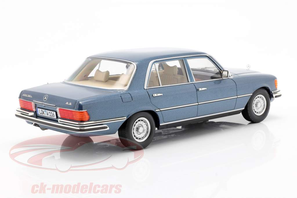 Mercedes-Benz S-klasse 450 SEL 6.9 (W116) 1975-1980 blå metallisk 1:18 iScale