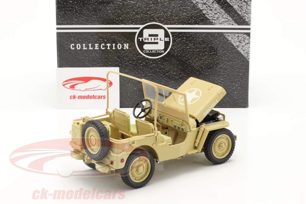 Jeep Willy's Casablanca år 1943 ørken sand 1:18 Triple9