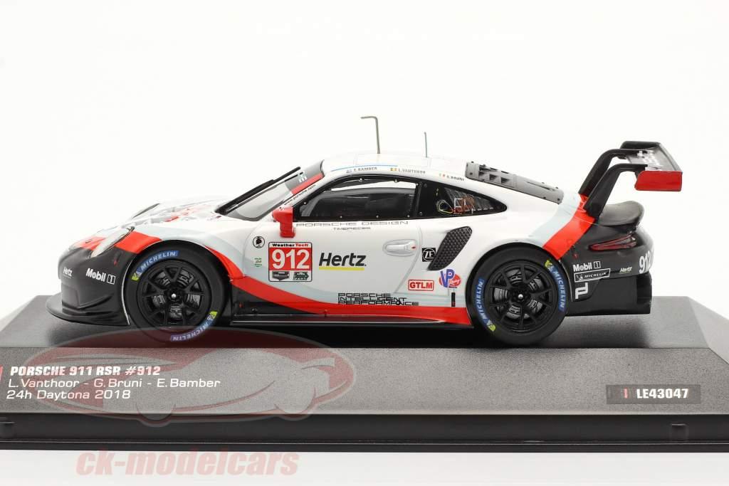 Porsche 911 (991) RSR #912 24h Daytona 2018 Bamber, Bruni, Vanthoor 1:43 Ixo