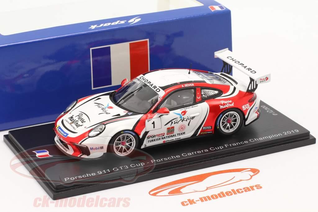 Porsche 911 GT3 Cup #1 kampioen Porsche Carrera Cup Frankrijk 2019 1:43 Spark