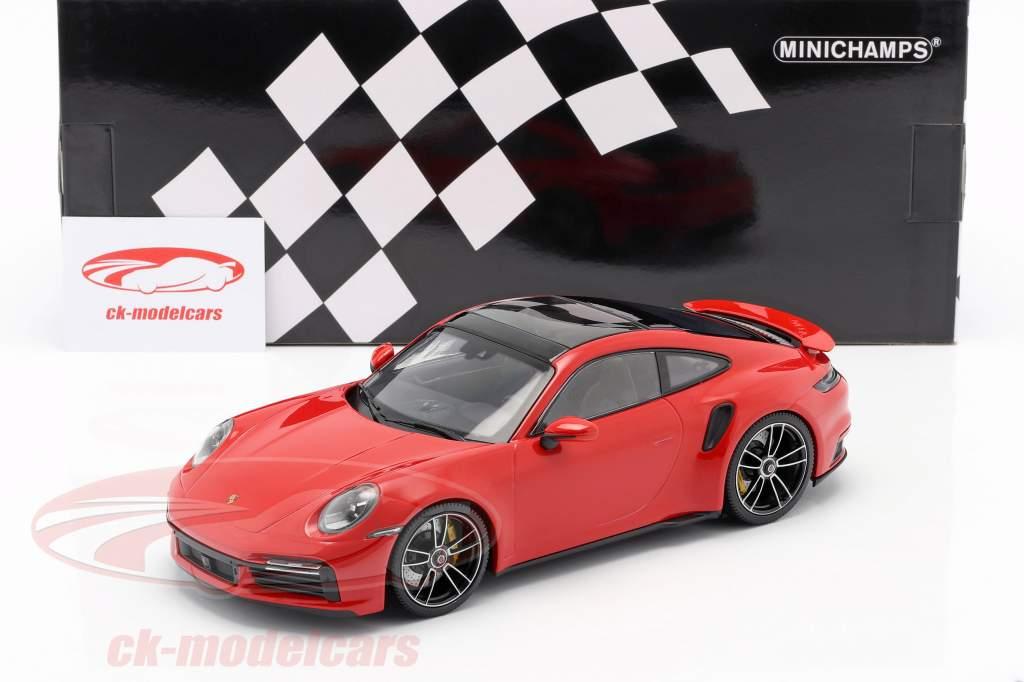 Porsche 911 (992) Turbo S Byggeår 2020 vagter rød 1:18 Minichamps