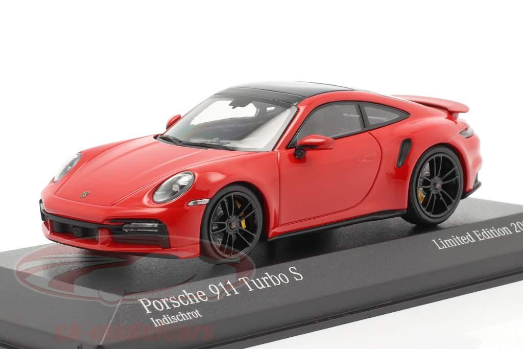 Porsche 911 (992) Turbo S 2020 bewakers rood / zwart velgen 1:43 Minichamps