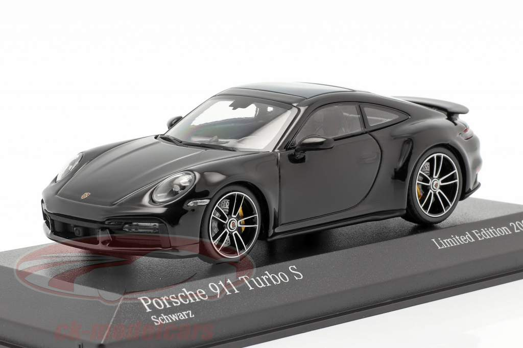Porsche 911 (992) Turbo S 2020 sort / sølv fælge 1:43 Minichamps