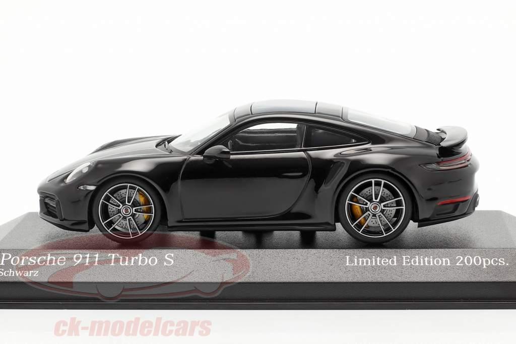 Porsche 911 (992) Turbo S 2020 negro / plata llantas 1:43 Minichamps
