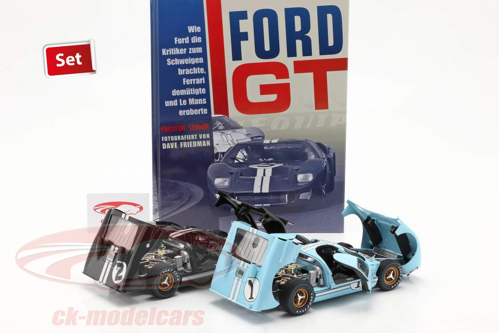 24h LeMans 1966 Collector's Set: boek Met Ford GT40 #1 #2 1:18 Shelby Collectibles