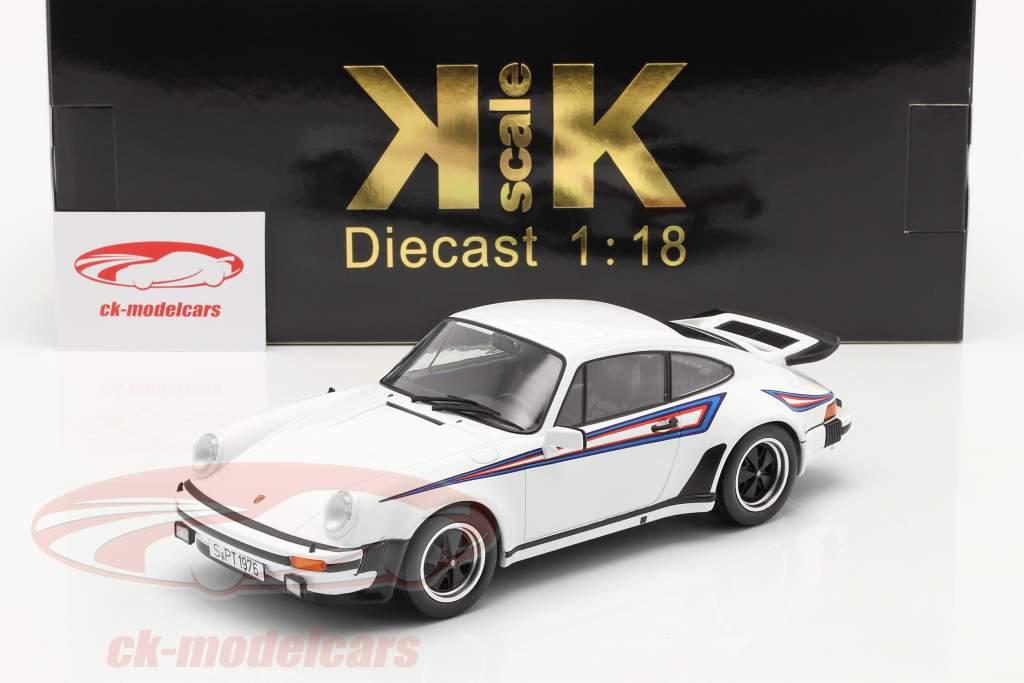 Porsche 911 (930) Turbo 3.0 Bouwjaar 1976 Wit / Martini Livery 1:18 KK-Scale