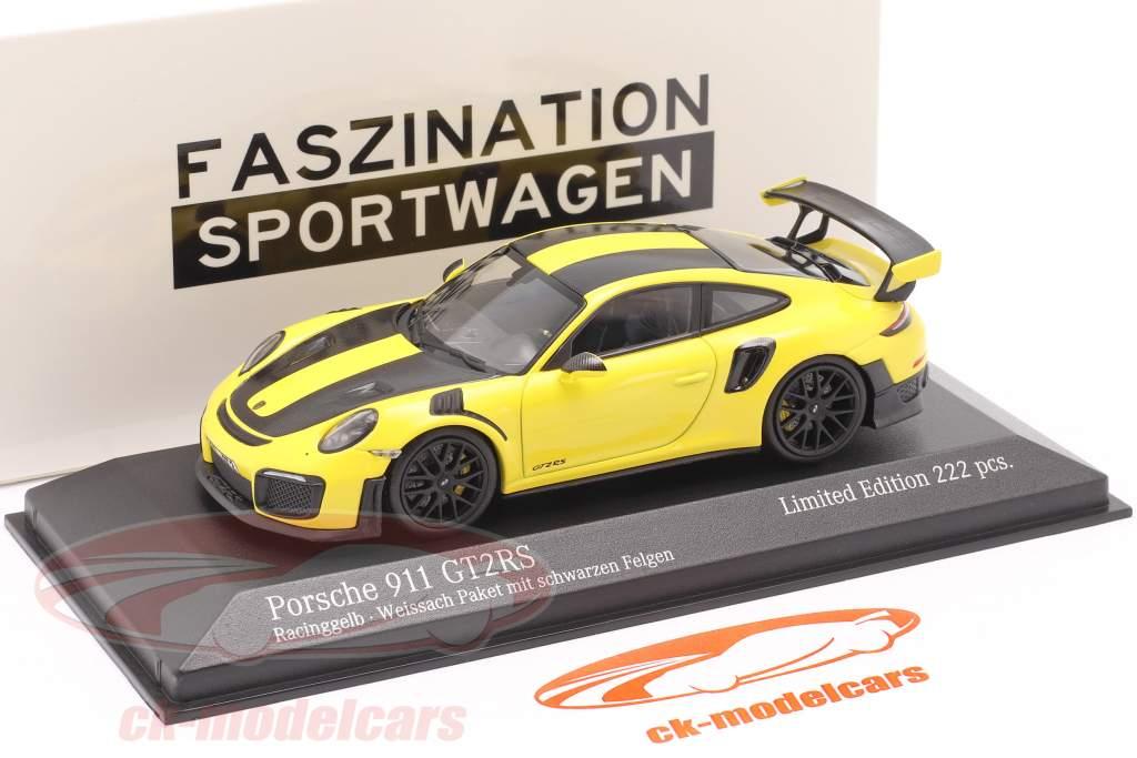 Porsche 911 (991 II) GT2 RS Weissach Package 2018 racing gelb / schwarze Felgen 1:43 Minichamps
