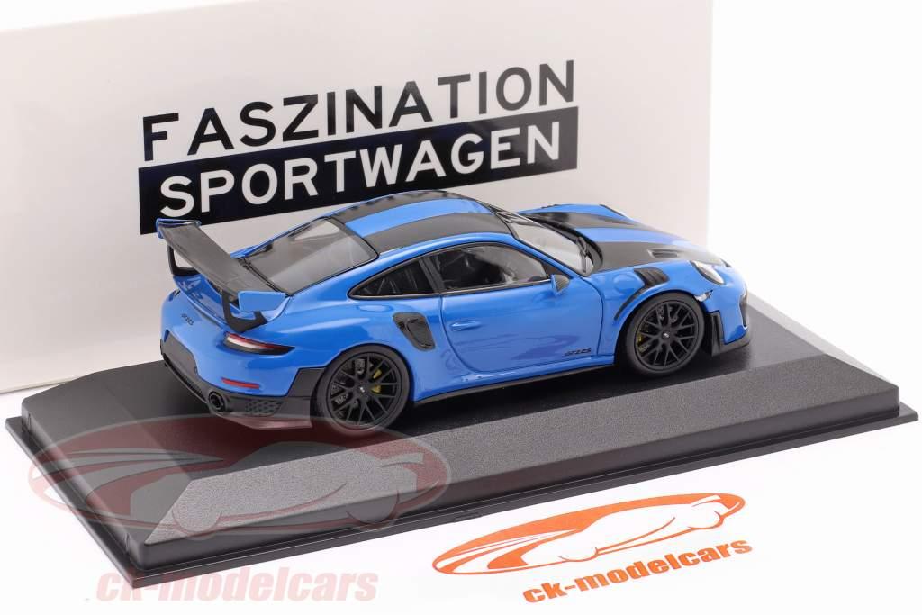 Porsche 911 (991 II) GT2 RS Weissach pacchetto 2018 blu voodoo / nero cerchi 1:43 Minichamps