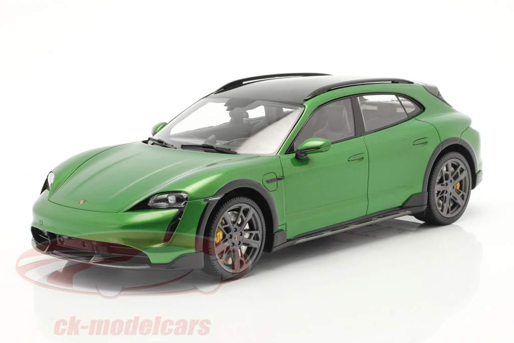 Porsche Taycan Turbo S Cross Turismo 2021 mamba grøn metallisk Med Udstillingsvindue 1:18 Minichamps