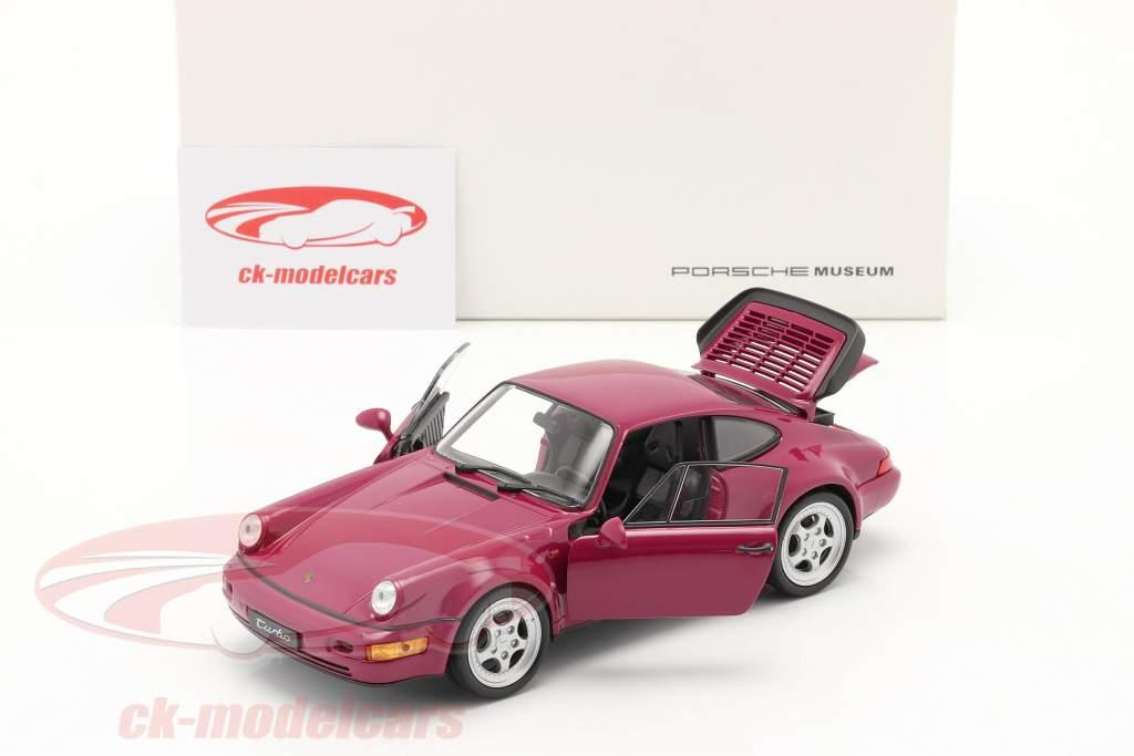 Porsche 911 (964) Turbo år 1990 mørk pink 1:24 Welly
