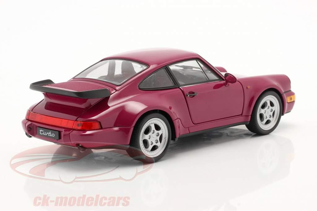 Porsche 911 (964) Turbo année 1990 rose foncé 1:24 Welly