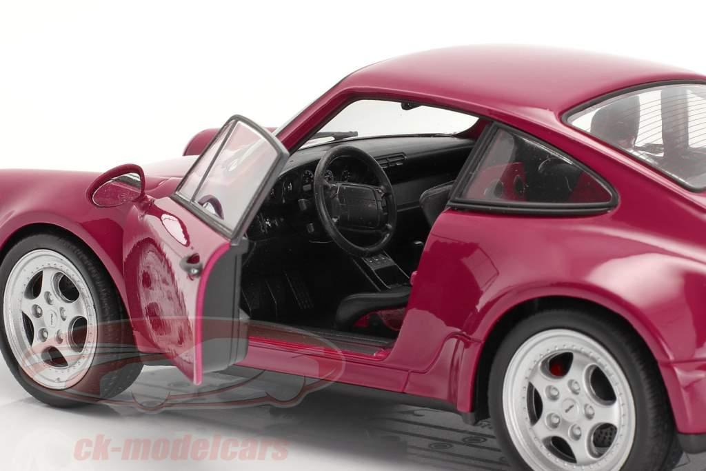 Porsche 911 (964) Turbo jaar 1990 donkerroze 1:24 Welly