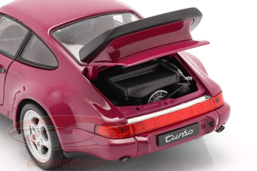 Porsche 911 (964) Turbo Year 1990 dark pink 1:24 Welly