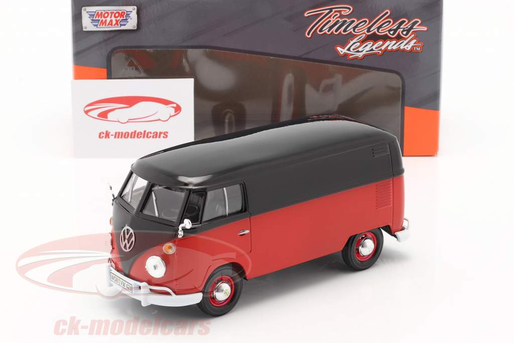Volkswagen VW Type 2 van vermelho / preto 1:24 MotorMax