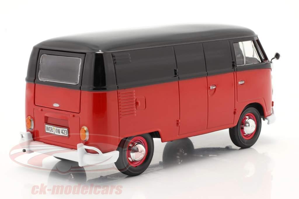 Volkswagen VW Type 2 van rød / sort 1:24 MotorMax