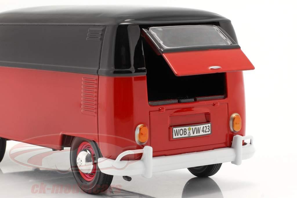 Volkswagen VW Type 2 Lieferwagen rot / schwarz 1:24 MotorMax