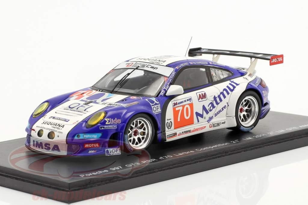 Porsche 911 GT3 RSR #70 Labre segunda clase GTE AM 24h Le Mans 2011 1:43 Spark