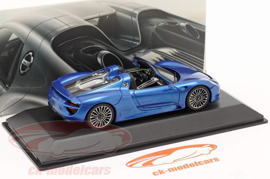 Porsche 918 Spyder Ano 2014 azul metálico 1:43 Spark