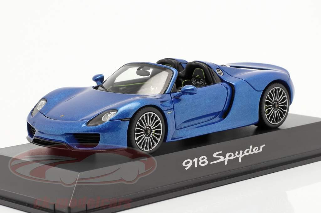 Porsche 918 Spyder Jaar 2014 blauw metalen 1:43 Spark