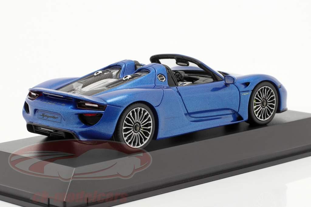 Porsche 918 Spyder Année 2014 bleu métallique 1:43 Spark