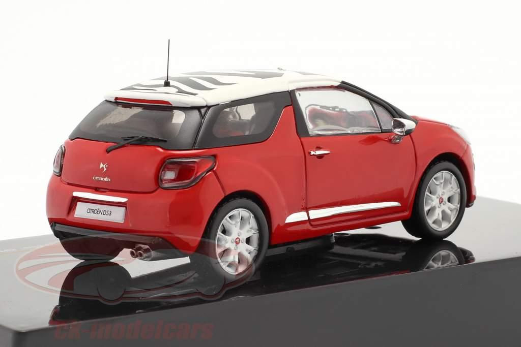 Citroen DS3 Esporte Chic construído em 2011 vermelho / branco 1:43 Ixo