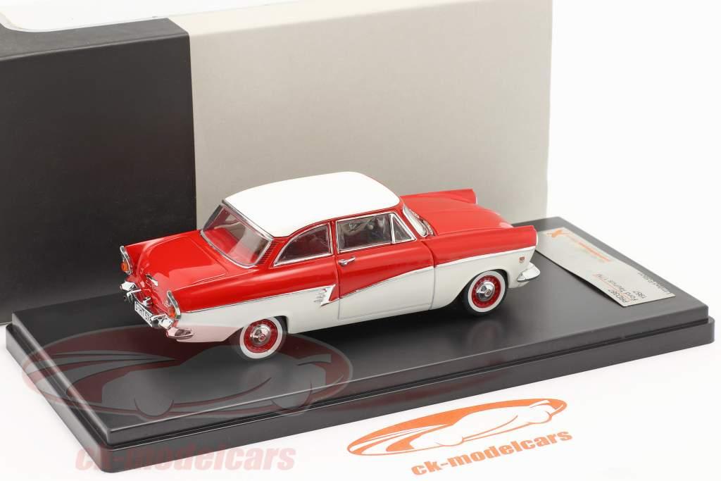 Ford Taunus 17M jaar 1957 rood / wit 1:43 Premium X / 2e keuze