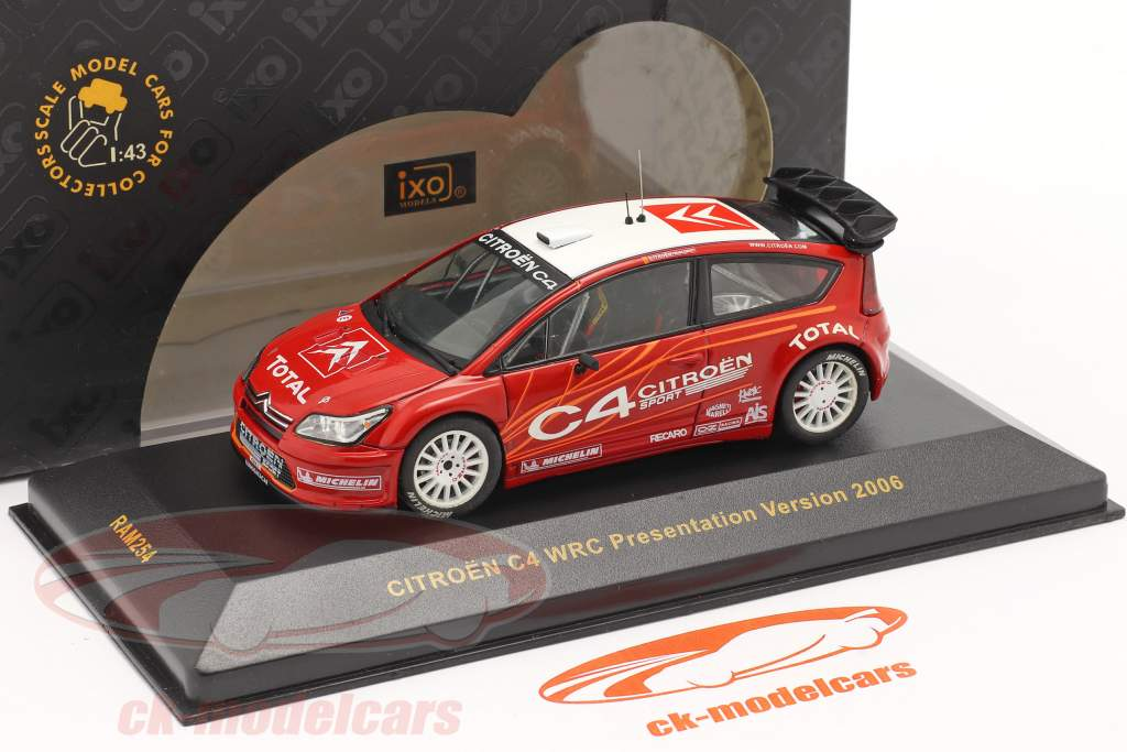 Citroen C4 WRC præsentation Test bil 2006 rød / hvid 1:43 Ixo