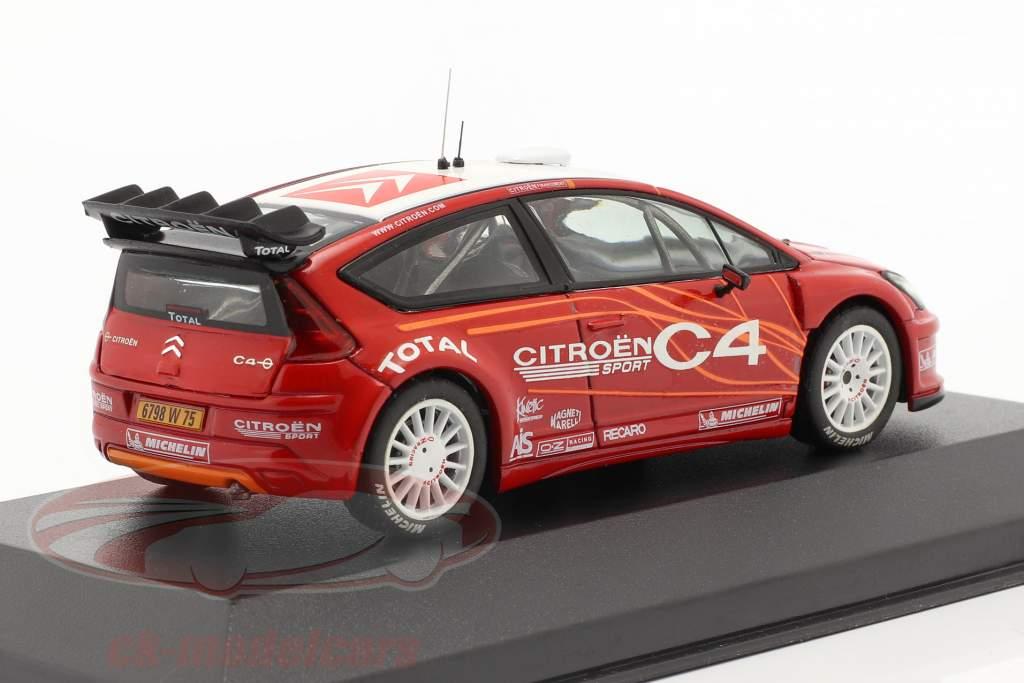 Citroen C4 WRC présentation Voiture d'essai 2006 rouge / blanc 1:43 Ixo