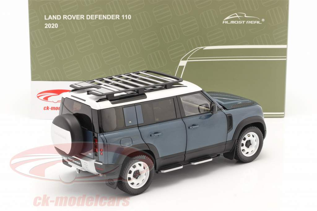 Land Rover Defender 110 with roof rack 2020 tasman blue 1:18 Almost Real