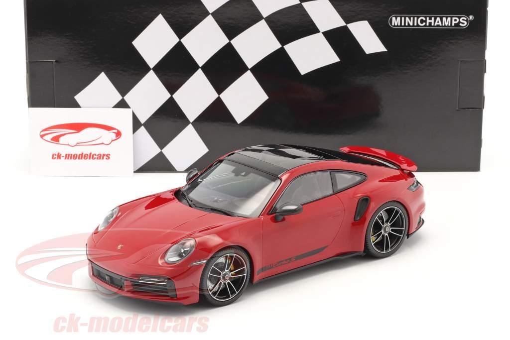 Porsche 911 (992) Turbo S Byggeår 2020 karmin rød 1:18 Minichamps