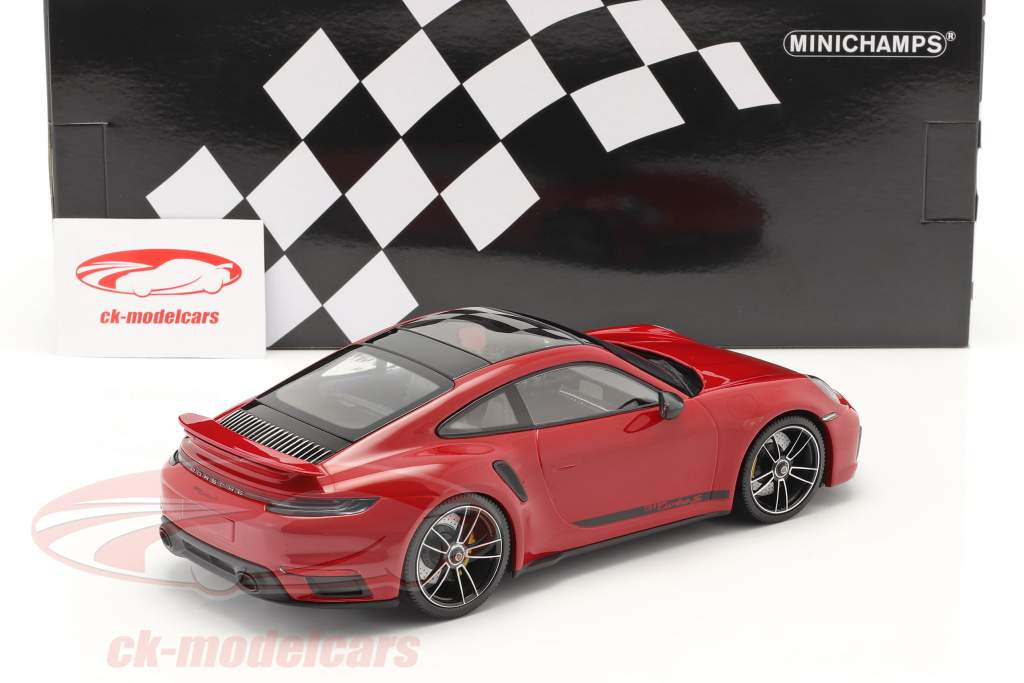 Porsche 911 (992) Turbo S Bouwjaar 2020 karmijn rood 1:18 Minichamps