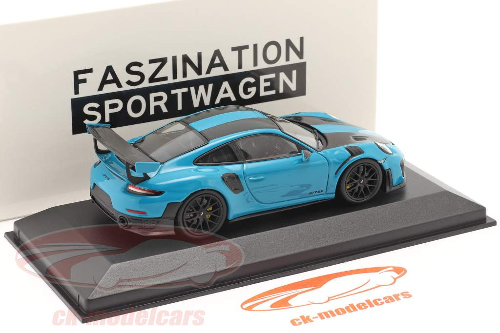 Porsche 911 (991 II) GT2 RS Weissach Package 2018 miami blu / nero cerchi 1:43 Minichamps