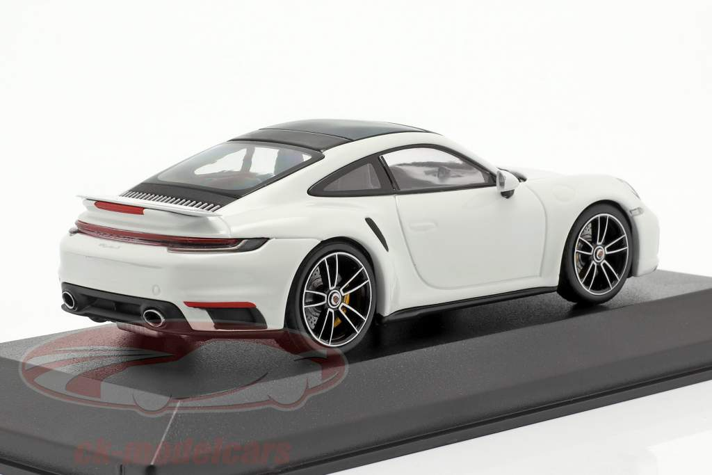 Porsche 911 (992) Turbo S 2020 bianca / argento cerchi 1:43 Minichamps
