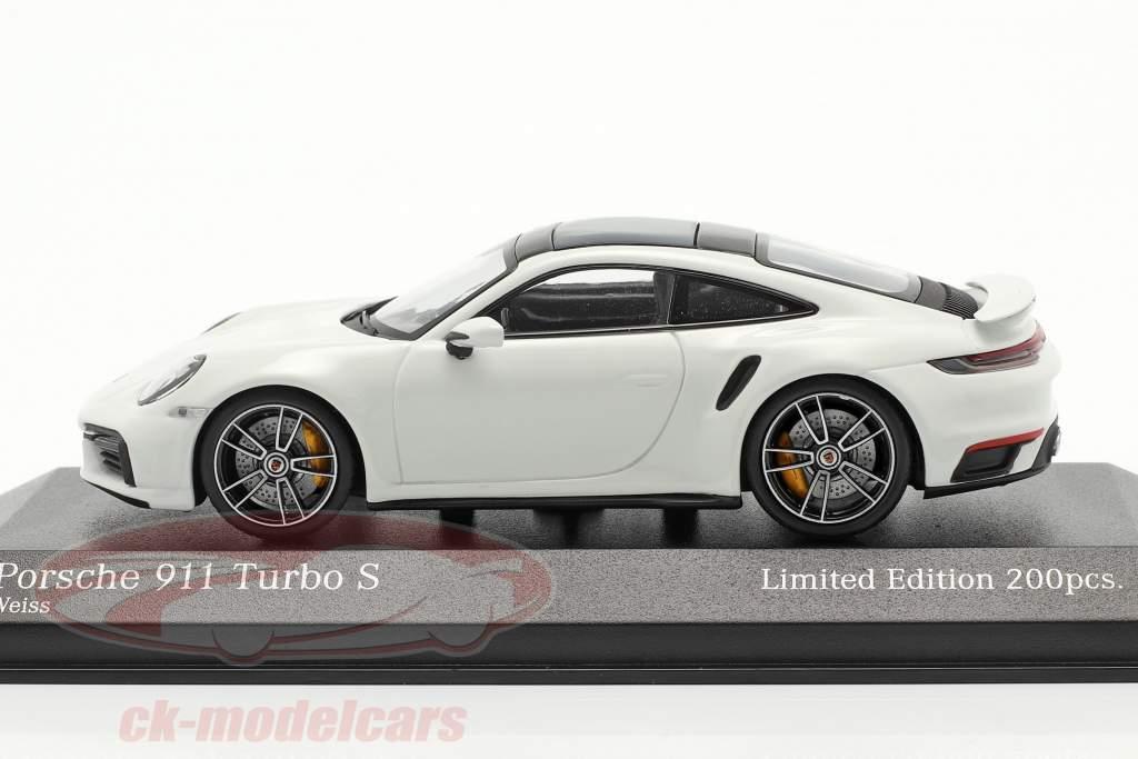 Porsche 911 (992) Turbo S 2020 Wit / zilver velgen 1:43 Minichamps