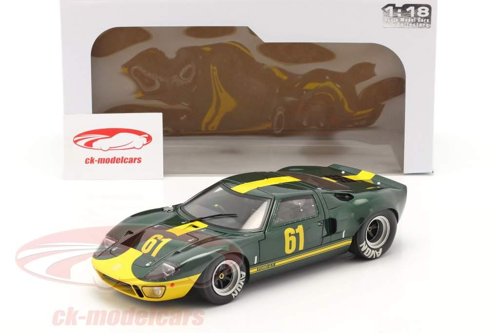 Ford GT40 MK1 #61 verde oscuro metálico / amarillo 1:18 Solido
