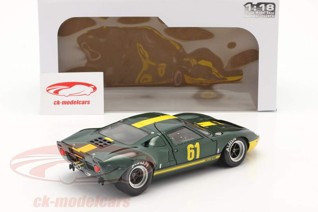Ford GT40 MK1 #61 donkergroen metalen / geel 1:18 Solido