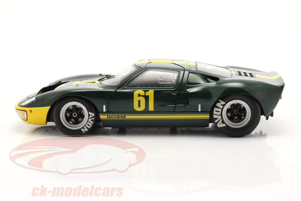 Ford GT40 MK1 #61 verde scuro metallico / giallo 1:18 Solido
