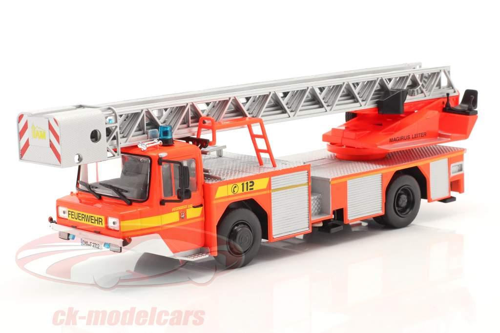 Iveco Magirus DLK 23-12 Avec Échelle de plateau tournant pompiers Lam rouge-orange 1:43 Altaya