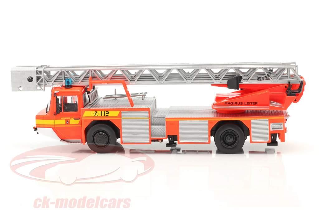Iveco Magirus DLK 23-12 Met Draaischijf ladder Brandweer Lam Oranje rood 1:43 Altaya